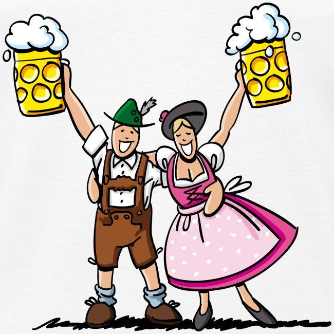 Fröhliches Oktoberfest Paar mit Bierkrug