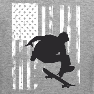 Skate jump us flag skateboard halfpipe olli long - Men's Premium Tank Top