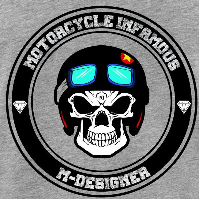 calavera con casco de moto impresa en playera