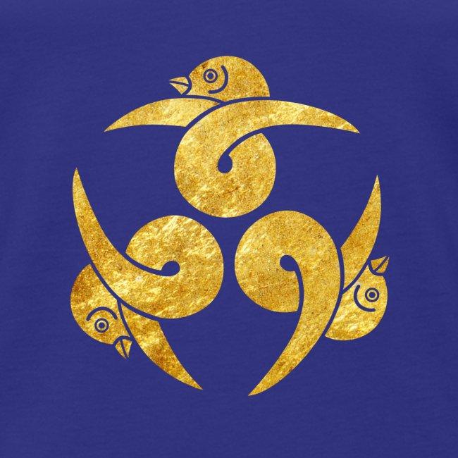 Three Geese Japanese Kamon in gold