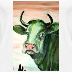 green cow portrait acrylic painting expressionistic - Women's Premium Tank Top
