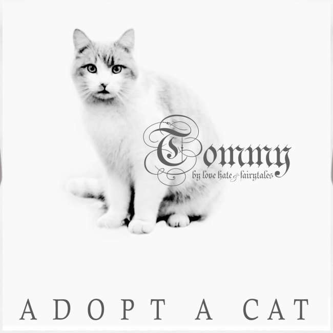 tommy says adopt a cat white