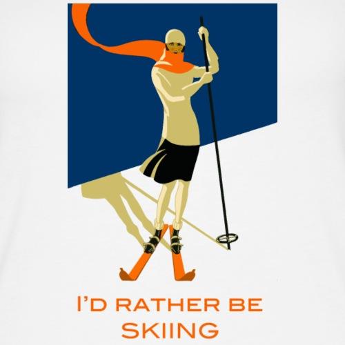 I d Rather Be Skiing Vintage Skier Design - Women's Premium Tank Top