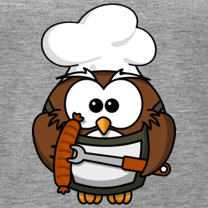 Owl on grill with food comic style - Women's Premium Tank Top