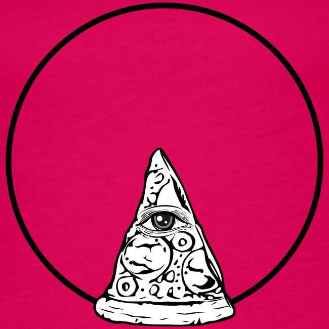 All sehendes Auge Pizza (schwarzer Druck)