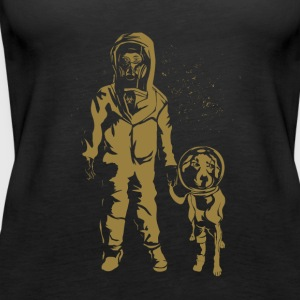 Space Women with dog Gold - Women's Premium Tank Top