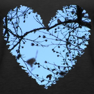 Heart with tree branches and blue sky, love t-shirt - Women's Premium Tank Top