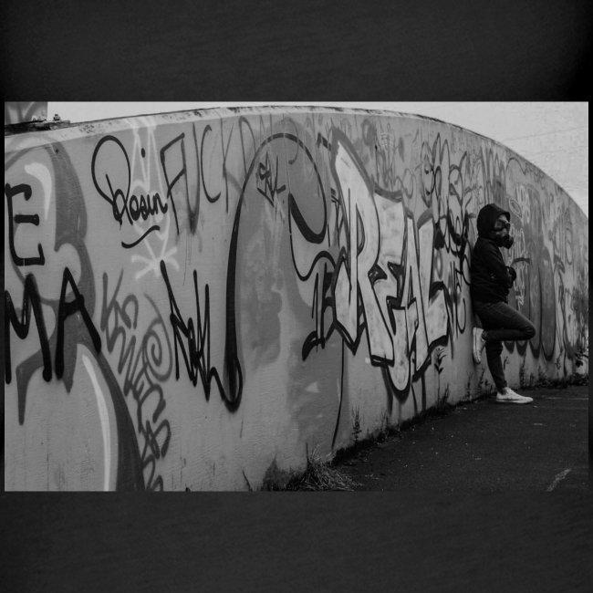 Real - Black and White graffiti bridge