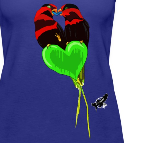 Lovebirds by BlackenedMoonArts, w. logo - Dame Premium tanktop