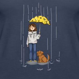 Girl with dog in rain - Women's Premium Tank Top