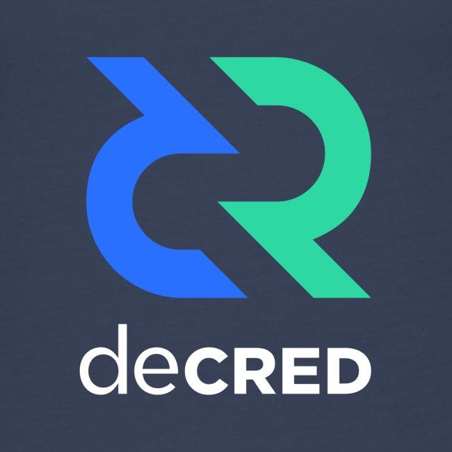 Decred logo vertical color white
