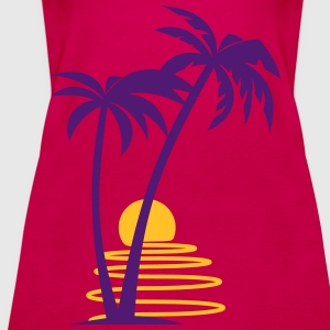 Palm trees with sun allround designs - Women's Premium Tank Top