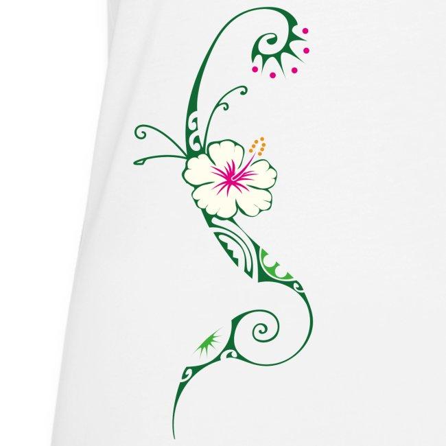Fleur Dhibiscus Sur Tatouage Polynesien Frauen Premium Tank Top Polynesian Art Factory