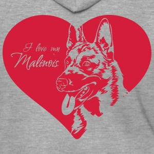 I love my Malinois - Men's Premium Hooded Jacket