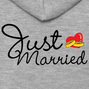 Just Married Rings Heart - Men's Premium Hooded Jacket