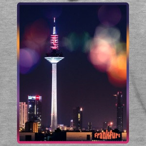 Frankfurt skyline with bokeh - Men's Premium Hooded Jacket
