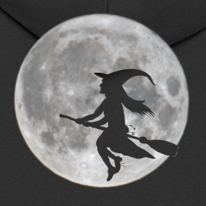 Flying witch in front of moon - Men's Premium Hooded Jacket
