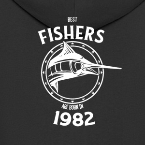 Present for fishers born in 1982 - Men's Premium Hooded Jacket