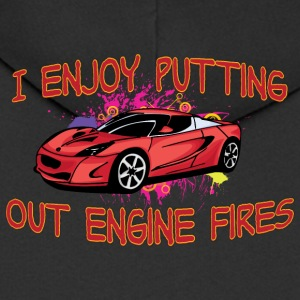 I enjoy putting out engine fire red sportscar - Men's Premium Hooded Jacket