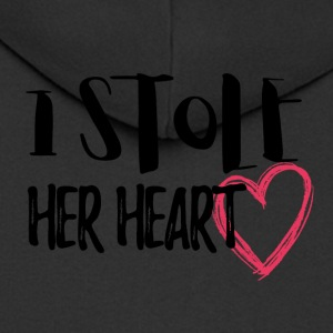Wedding / Marriage: I stole her heart - Men's Premium Hooded Jacket