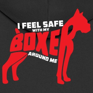 Dog / Boxer: I feel safe with my boxers around me - Men's Premium Hooded Jacket