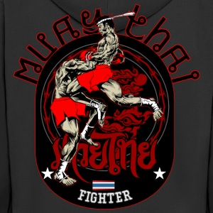 Muay Thai Fighter - Rozpinana bluza męska z kapturem Premium