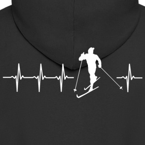 I love cross-country skiing (cross-country skiing heartbeat) - Men's Premium Hooded Jacket