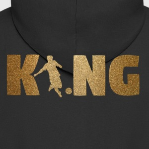 KING Soccer! Soccer! Ball! Present! - Men's Premium Hooded Jacket