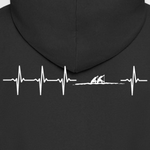 I love rowing (rowing heartbeat) - Men's Premium Hooded Jacket