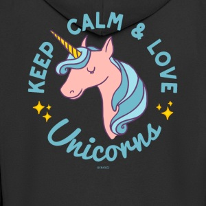 Keep Calm and Love Unicorns Blue Shirts - Men's Premium Hooded Jacket