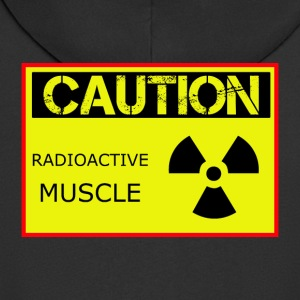 Caution Radioactive Muscle - Men's Premium Hooded Jacket