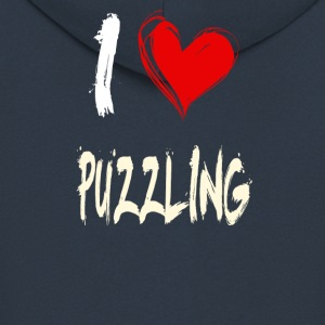 I love puzzles - Men's Premium Hooded Jacket