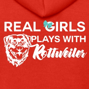 Dog / Rottweiler: Real Girls Plays With Rottweile - Men's Premium Hooded Jacket
