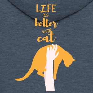 Cats: Life is better with cat - Men's Premium Hooded Jacket