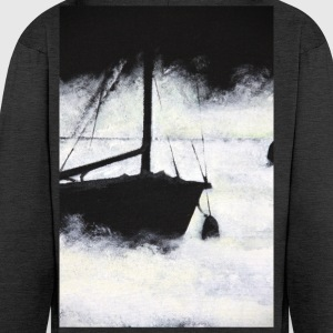 boat lake mist mystical painting acrylic sail fog - Men's Premium Hooded Jacket