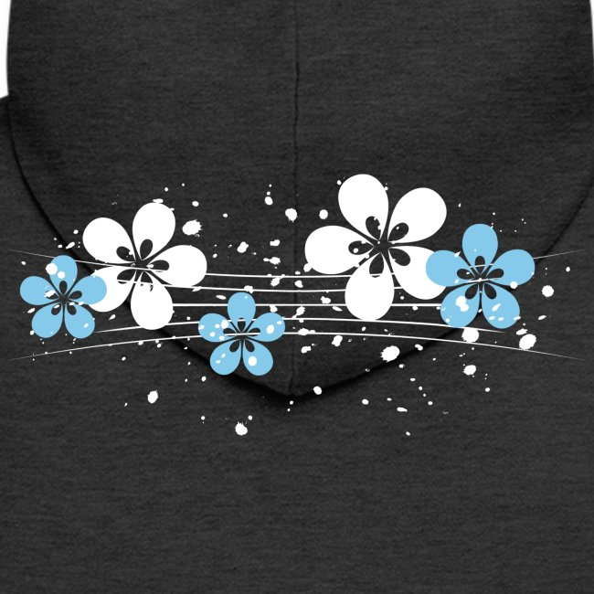 white and blue floral print