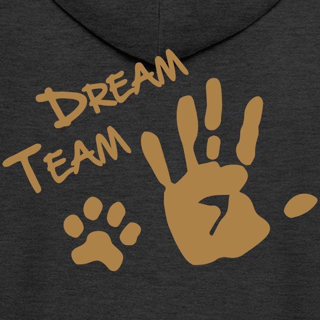 Vorschau: Dream Team Hand Hundpfote - Männer Premium Kapuzenjacke