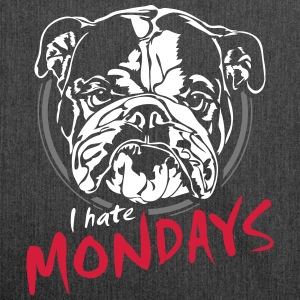 I hate mondays - English Bulldog - Shoulder Bag made from recycled material
