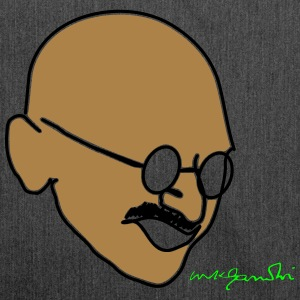 Gandhi drawing with signature - Shoulder Bag made from recycled material