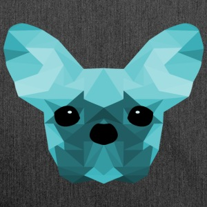 French Bulldog ciano Low Poly design - Borsa in materiale riciclato