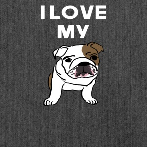 i love my bulldogge - Schultertasche aus Recycling-Material