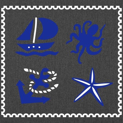 Briefmarke Maritim - Schultertasche aus Recycling-Material
