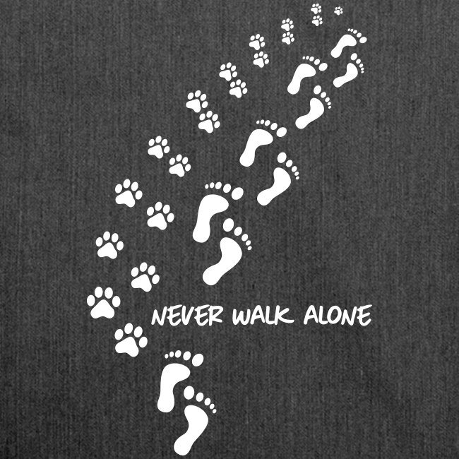 Vorschau: never walk alone dog - Schultertasche aus Recycling-Material