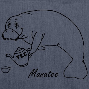 Manatee likes tea - Shoulder Bag made from recycled material