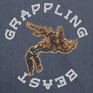 GRAPPLING BEAST (APE VS JAGUAR) NAVY - Shoulder Bag made from recycled material
