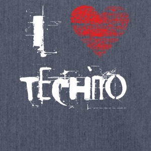 I love techno rave goa hardtek hard - Schultertasche aus Recycling-Material