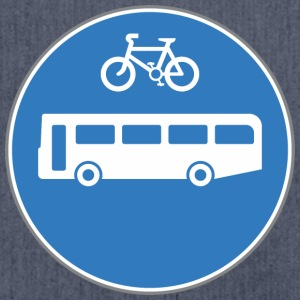 Road sign bus and bicycle - Shoulder Bag made from recycled material