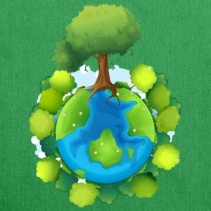 tree forest nature planet - Schultertasche aus Recycling-Material