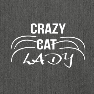 crazy cat Lady1 wit - Schoudertas van gerecycled materiaal