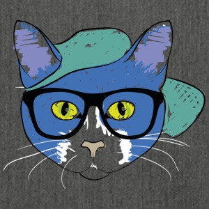 Cat with hipster glasses - Shoulder Bag made from recycled material